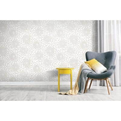 Toss The Bouquet Beige Vinyl Peel & Stick Repositionable Wallpaper Roll (Covers 28.18 Sq. Ft.)