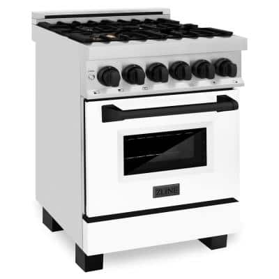 Autograph Edition 24 in. 2.8 cu. ft. Dual Fuel Range in Stainless Steel with White Matte Door and Matte Black Accents