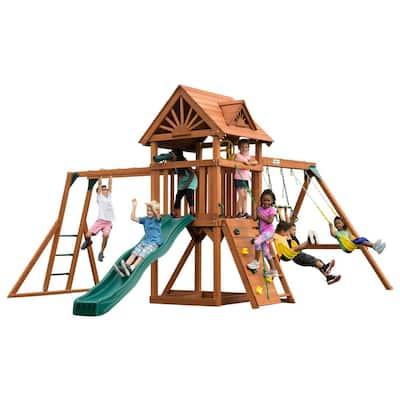 DIY Sky Tower Plus Wood Complete Swing Set with Monkey Bars