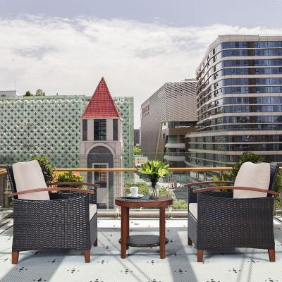 3-Piece Wicker Round Outdoor Bistro Set with Beige Cushions