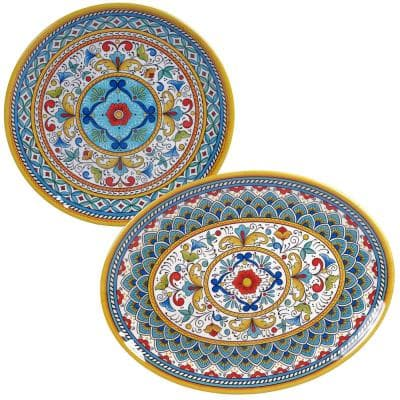 Portofino 2-Piece Seasonal Multicolored Melamine 14 and 18 in. Platter Set