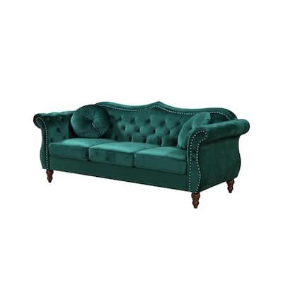 Bellbrook 79.5 in. Green Velvet 3-Seater Camelback Sofa with Nailheads