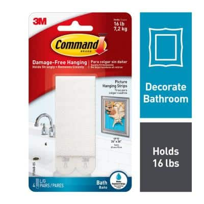 Large Bath Picture Hanging Water Resistant Refill Strips (4 Pairs of Strips)