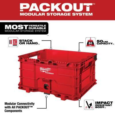 PACKOUT 18.6 in. Tool Storage Crate Bin with Carrying Handles and 50 lb. Weight Capacity