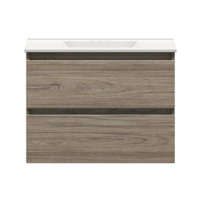 Sidemere 30 in. W x 18 in. D Vanity in Savanna with Porcelain Vanity Top in Solid White with White Basin