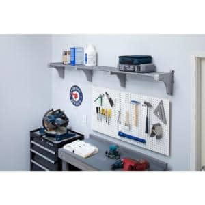 40 in. - 75 in. Metal Expandable Garage Shelf in Silver