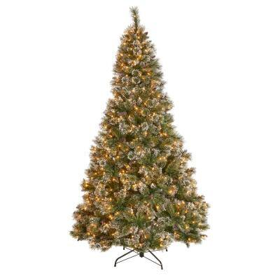 7 ft. Pre-Lit Mixed Spruce Hinged Artificial Christmas Tree with Clear Lights, Snow Branches and Pinecones