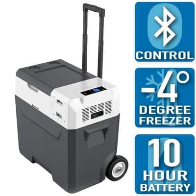 LiONCooler 52 Qt. Battery Powered Portable Chest Fridge Freezer Cooler w/10+ Hour Run Time, Recharge Using Solar/DC/AC