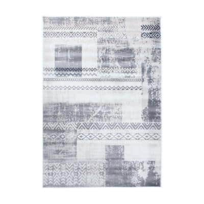 Contemporary Boxes Bohemian Gray 5 ft. x 7 ft. Geometric Area Rug