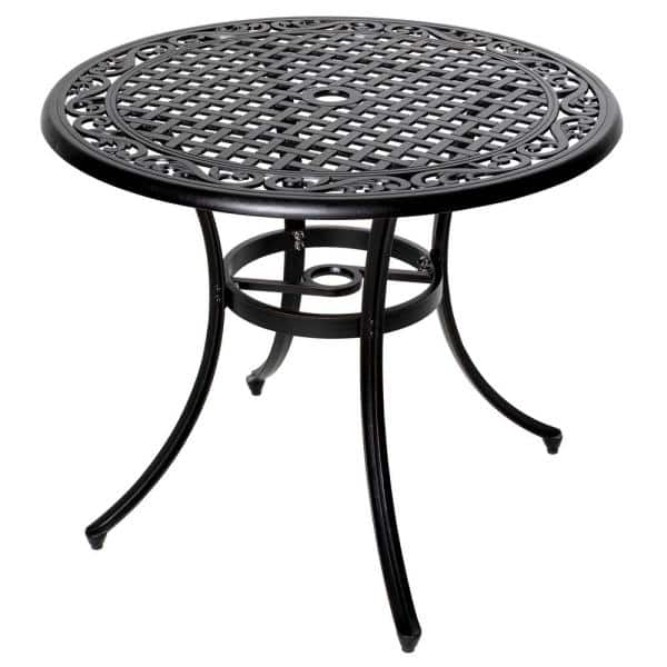 Nuu Garden 36 Inch Outdoor Round Patio, Round Picnic Table With Umbrella Hole