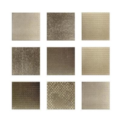 Argenta 6 in. x 6 in. Gold Ceramic Decorative Wall Tile (9-pack)