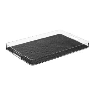 Fishnet Black 19 in.W x 1.5 in.H x 13 in.D Rectangular Lucite Serving Tray