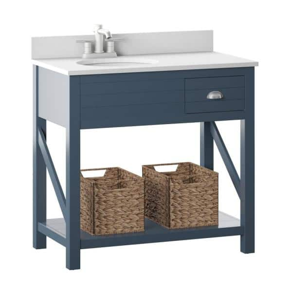Twin Star Home 36 In W X 20 In D Open Bath Vanity With Baskets In Blue With Marble Top In White With White Basin 36bv589 Pp02 The Home Depot