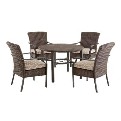 Harper Creek 5-Piece Brown Steel Outdoor Patio Dining Set with CushionGuard Toffee Trellis Tan Cushions