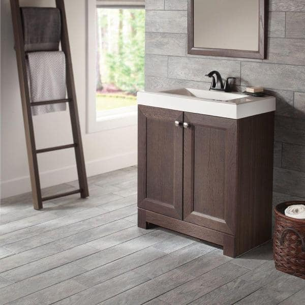 Glacier Bay Shaila 24 5 In W Bath Vanity In Truffle With Cultured Marble Vanity Top In White With White Sink Ppsoftrf24 The Home Depot