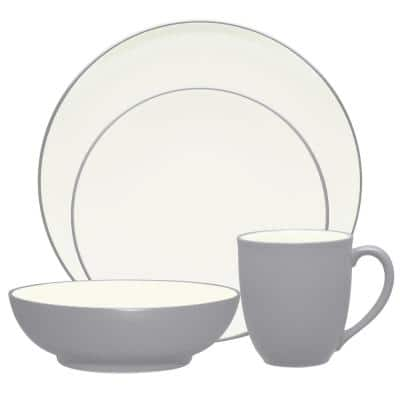 Colorwave Slate Grey  Stoneware Coupe 4-Piece Place Setting (Service for 1)
