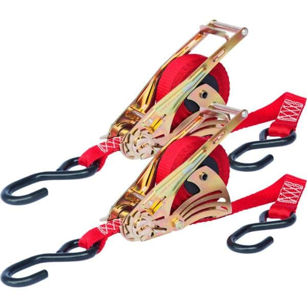 """Pack of 2 Ratchet Tie Down Straps 1/"""" x 15ft Retractable 1500 lb Load Capacity"""