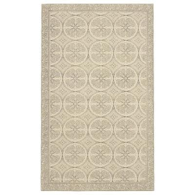 Bale Stonewashed Beige/Grey 3 ft. x 5 ft. Distressed Moroccan Accent Rug