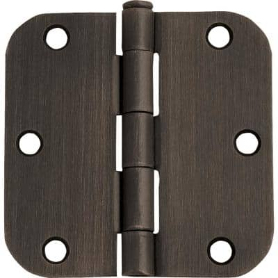 3-1/2 in. x 5/8 in. Radius Oil Rubbed Bronze Door Hinge Value Pack (3 per Pack)