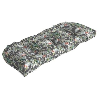 Contoured Outdoor Wicker Settee Cushion in Gray Crane