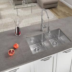Undermount Stainless Steel 31 in. Double Bowl Kitchen Sink with Additional Accessories