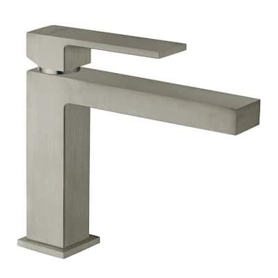 Quadro Single Hole Single-Handle Bathroom Faucet in Brushed Nickel