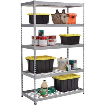 Silver 5-Tier Heavy Duty Steel Garage Storage Shelving (48 in. W x 78 in. H x 24 in. D)