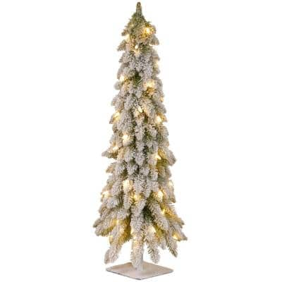 3 ft. Snowy Downswept Forestree Artificial Christmas Tree with Metal Plate and Clear Lights