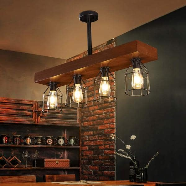 Casainc 4 Lights Wood Farmhouse Kitchen Island Lighting With Metal Cages Xd Wpl001 The Home Depot