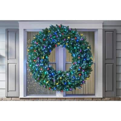Sugarplum Knoll 60 in. LED Pre-Lit Artificial Christmas Wreath with Micro-Style Pure White and C9 Multi-Color Lights