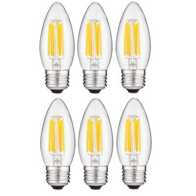 60-Watt Equivalent B11 E26 Base Dimmable Clear Torpedo Candle LED Light Bulb in Daylight 5000K (6-Pack)