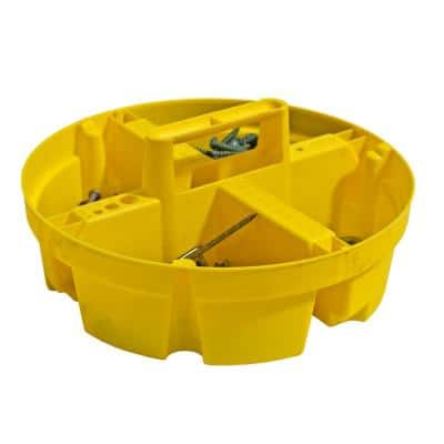 10.25 in. 4-Compartment Bucket Stacker Small Parts Organizer for Bucket Storage in Yellow