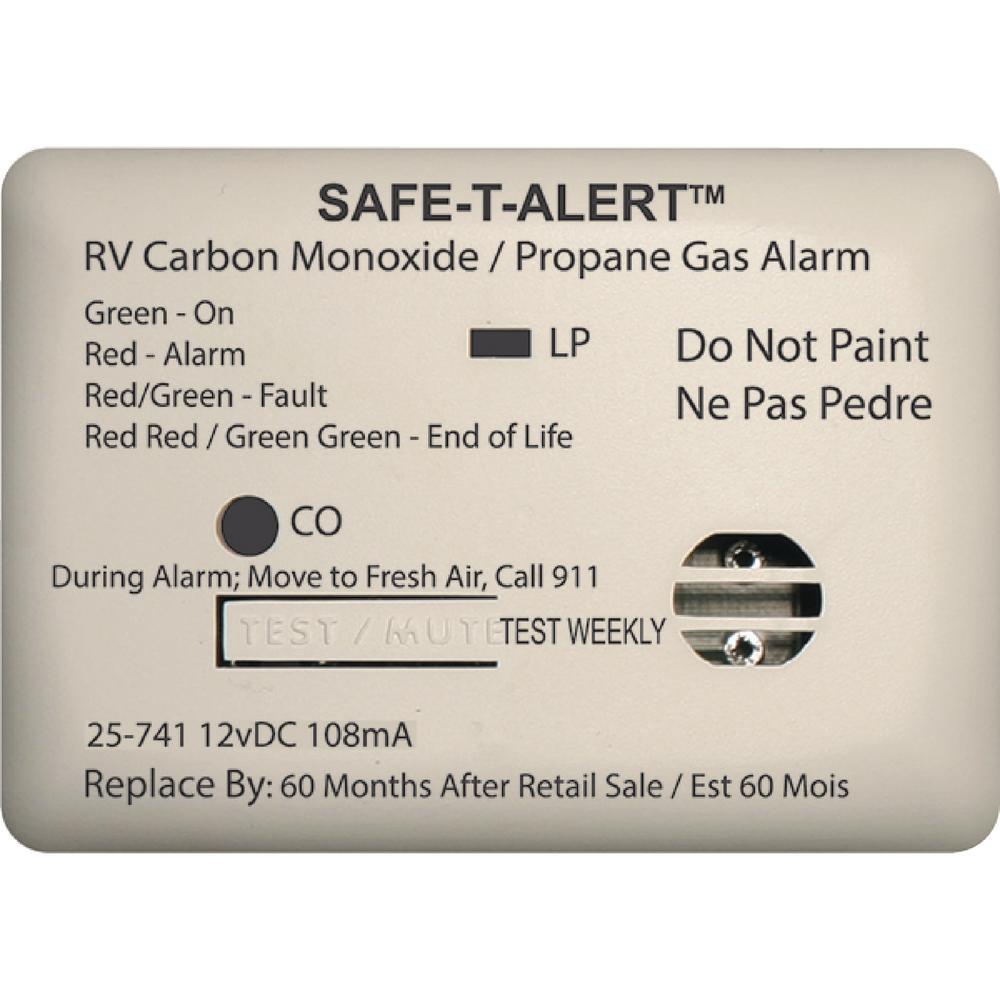 25 Series 12-Volt Safe-T-Alert Mini RV Dual Carbon Monoxide/Propane Alarm in White
