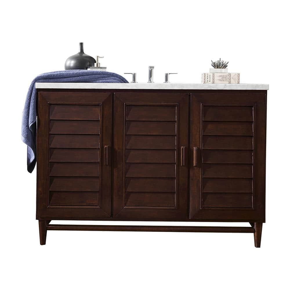 James Martin Vanities Portland 48 In W Single Bath Vanity In Burnished Mahogany With Marble Vanity Top In Carrara White With White Basin 620v48bnm3car The Home Depot