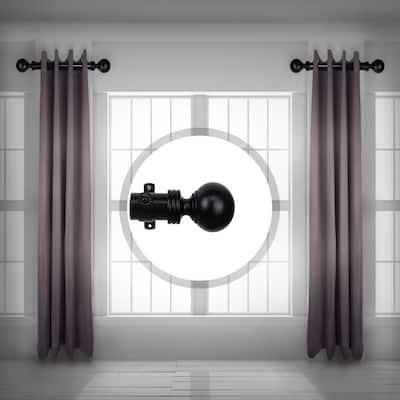 Sphere 1.5 inch Side Single Curtain Rod Adjustable 12-20 inch long (Set of 2) - Black