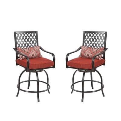 Outdoor Swivel Metal Height Chairs Patio Dining Chair with Cushion (Set of 2)