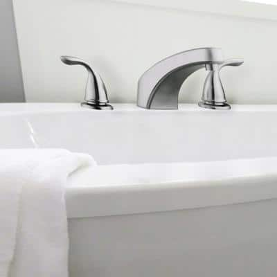 Ashland 2-Handle Deck Mount Roman Tub Faucet in Satin Nickel