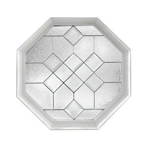 23.25 in. x 23.25 in. Decorative Glass Fixed Octagon Geometric Vinyl Window in White