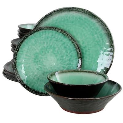 Green Lantern 16-Piece Contemporary Teal Terra Cotta Dinnerware Set (Service for 4)
