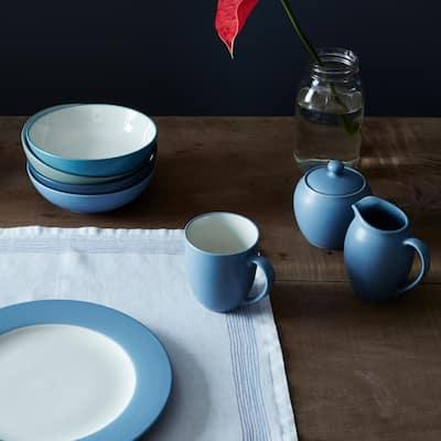 Colorwave Ice Light Blue Stoneware Square 4-Piece Place Setting (ServIce Light Bluefor 1)