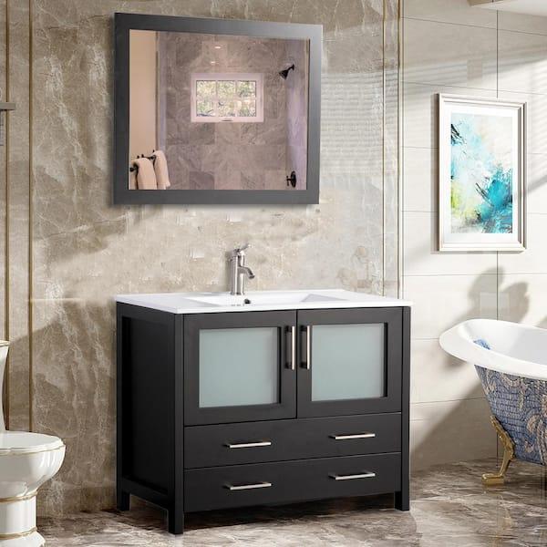 Vanity Art 36 In W X 18 In D X 36 In H Bathroom Vanity In Espresso With Single Basin Vanity Top In White Ceramic And Mirror Va3036e The Home Depot