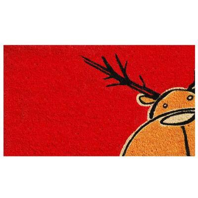 Christmas Moose 17 in. x 29 in. Coir Door Mat