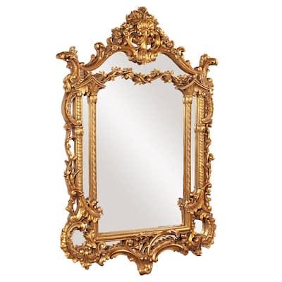 Medium Rectangle Antique Gold Leaf Classic Mirror (34 in. H x 49 in. W)
