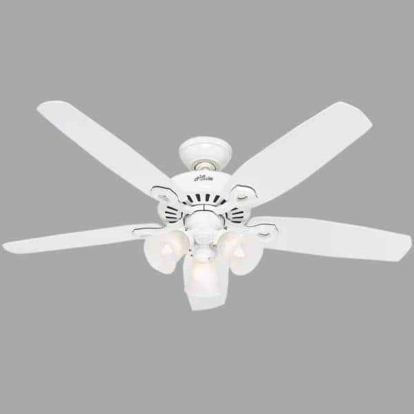 Hunter Builder Plus 52 In Indoor 3 Light White Ceiling Fan 53236 The Home Depot