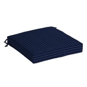 Navy Woven Stripe Square Outdoor Seat Cushion