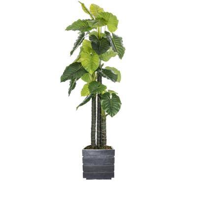 78 in. Tall/Outdoor Elephant Ear Plant Artificial Indoor/ Outdoor Decorative Faux in Fiberstone Pot