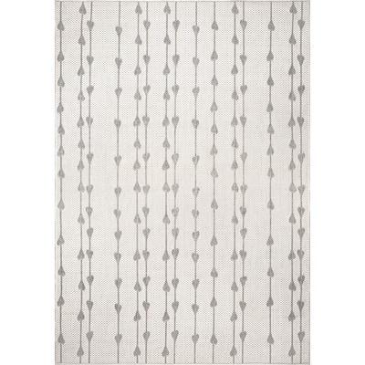 Kiernan Vertical Teardrop Stripe Gray 6 ft. 7 in. x 9 ft. Indoor/Outdoor Area Rug