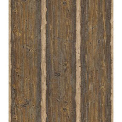 Dakota Brown Textured Rustic Wood Vinyl Peelable Roll Wallpaper (Covers 56.4 sq. ft.)