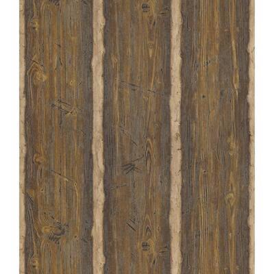 Hewn Log Dark Brown Wallpaper Sample