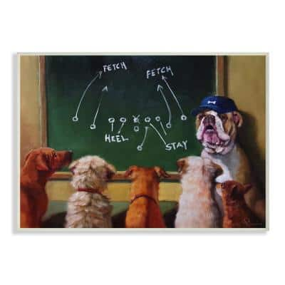 """12.5 in. x 18.5 in. """"Dog Football Team New Tricks Practice Painting"""" by Lucia Heffernan Wood Wall Art"""